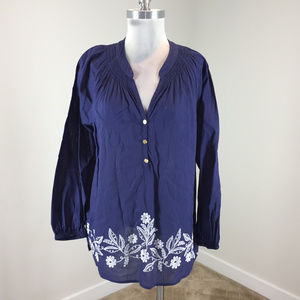 Lilly Pulitzer L Navy Blouse Long Sleeve peasant